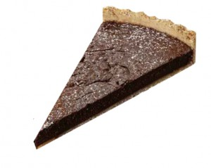 Chocolate tart with stewed prunes